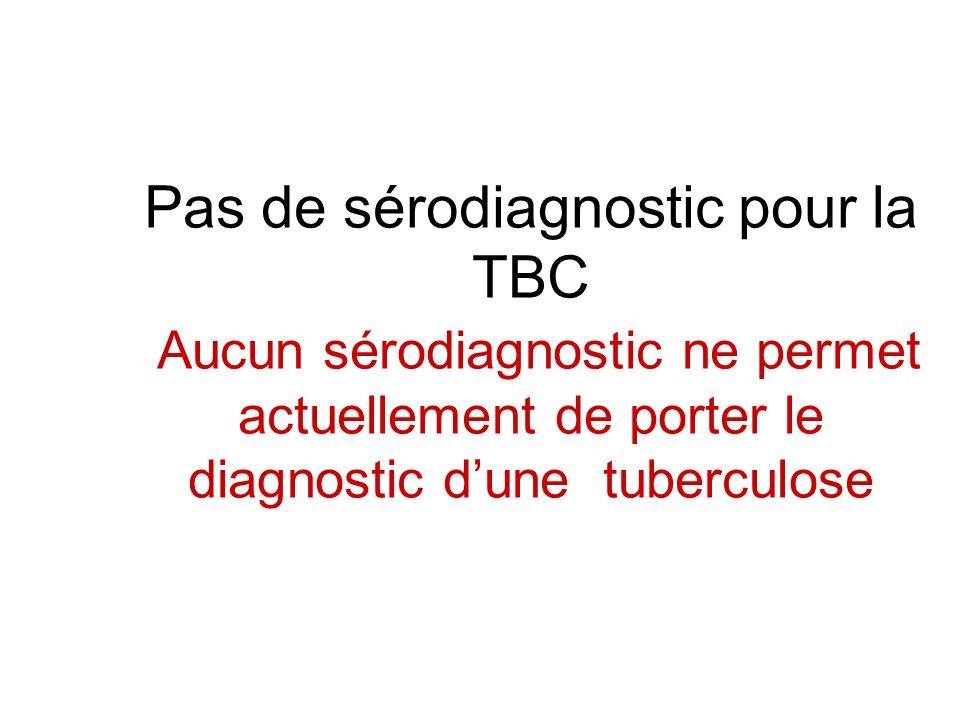 Pas de sérodiagnostic pour la TBC Aucun sérodiagnostic ne permet actuellement de porter le diagnostic d'une tuberculose