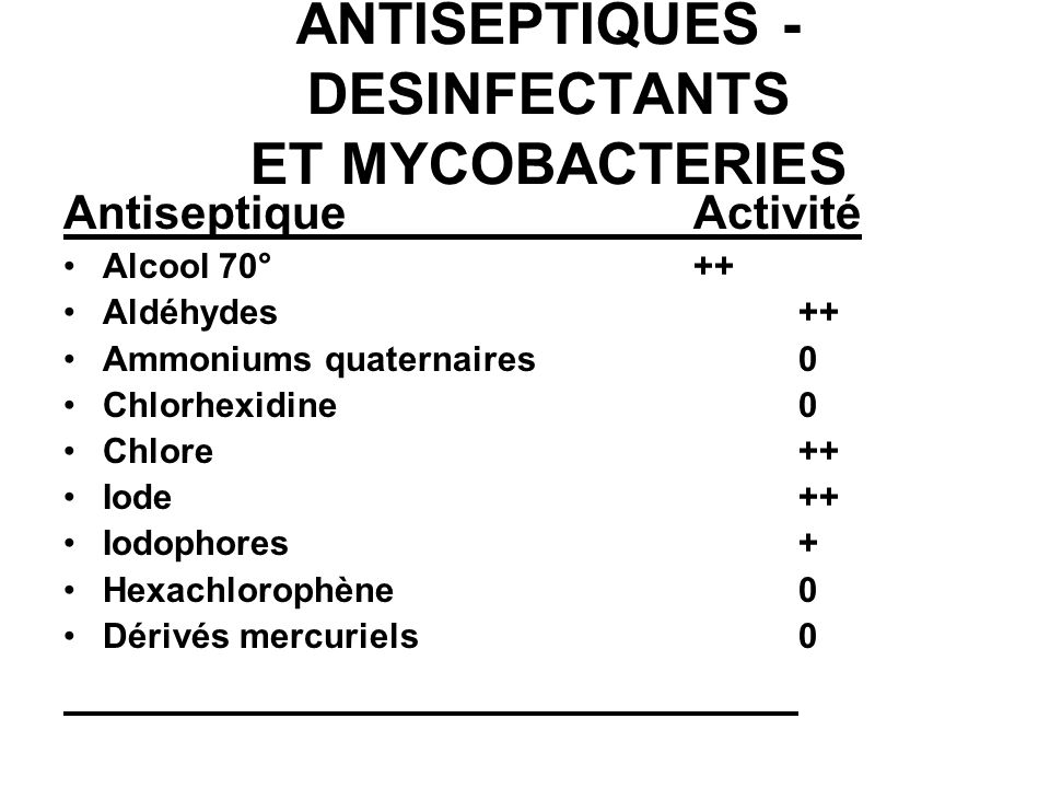 ANTISEPTIQUES - DESINFECTANTS ET MYCOBACTERIES