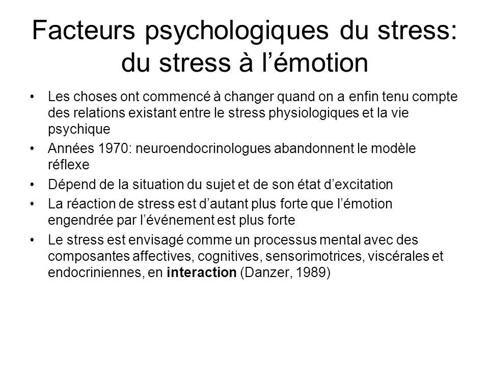 Facteurs psychologiques du stress: du stress à l'émotion