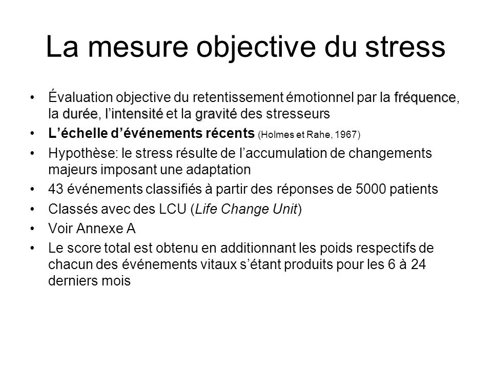 La mesure objective du stress