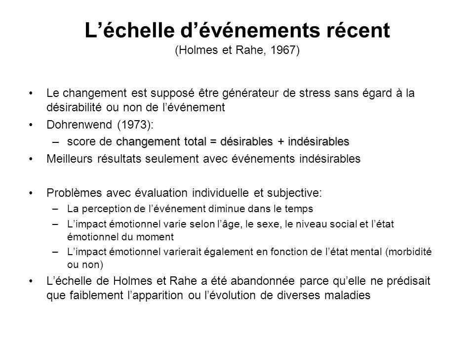 L'échelle d'événements récent (Holmes et Rahe, 1967)