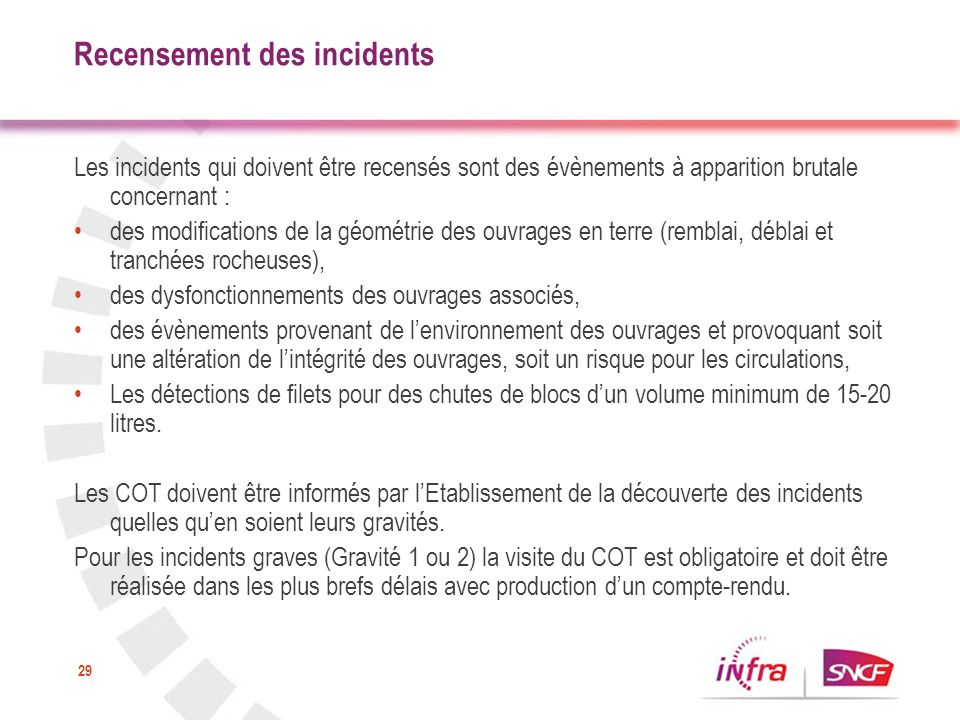 Recensement des incidents