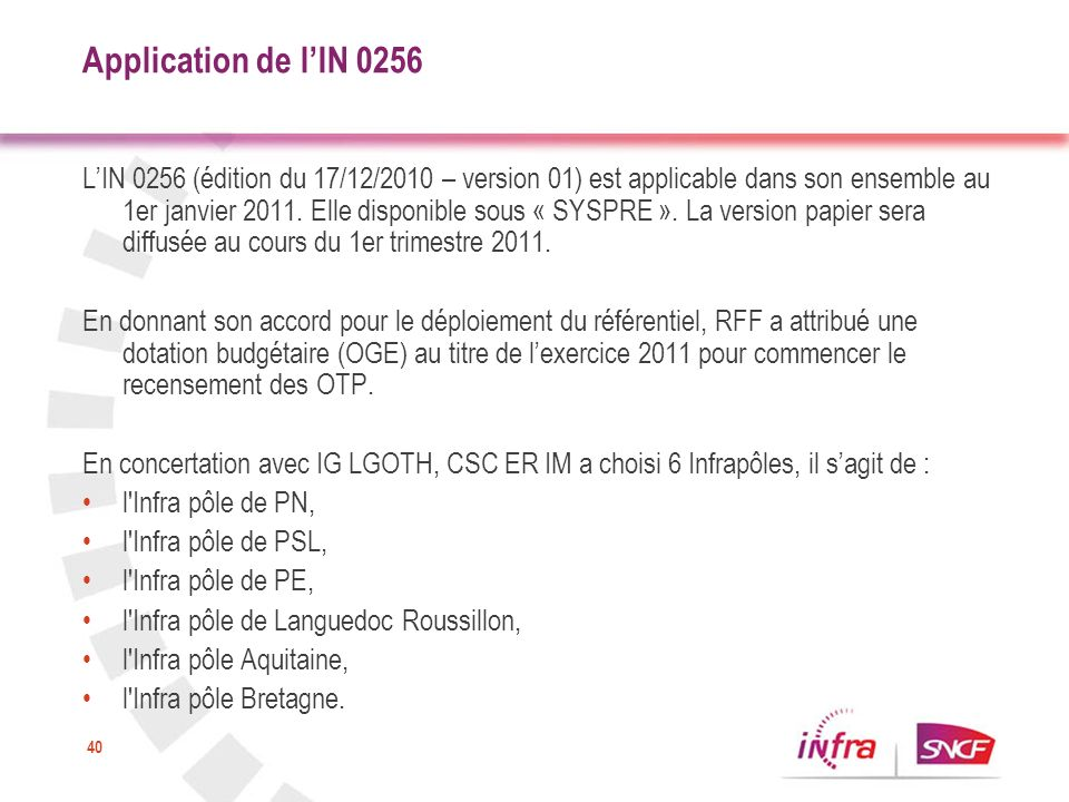 Application de l'IN 0256