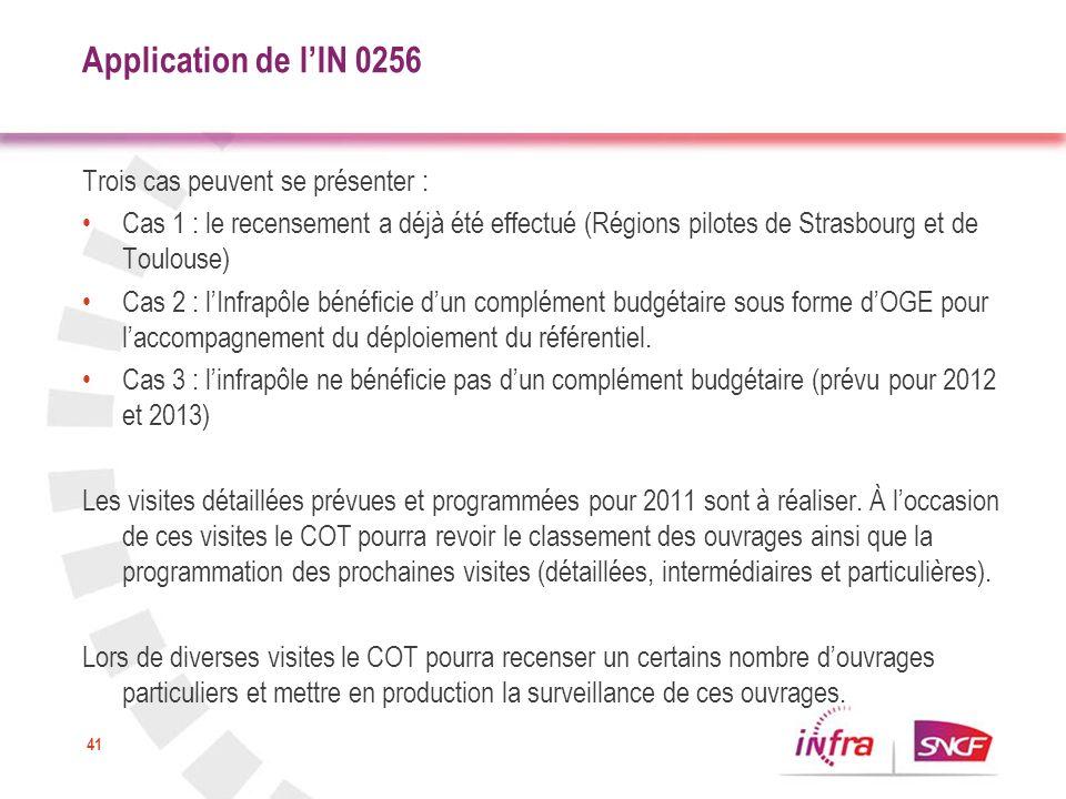 Application de l'IN 0256 Trois cas peuvent se présenter :
