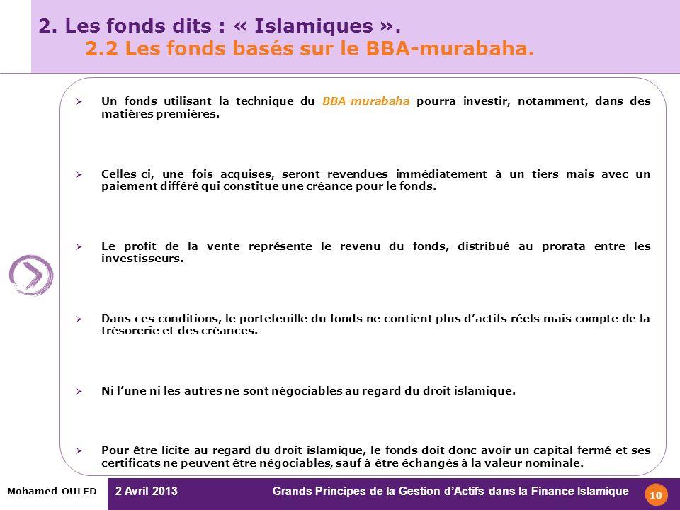 2. Les fonds dits : « Islamiques ». 2