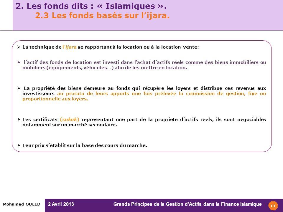 2. Les fonds dits : « Islamiques ». 2.3 Les fonds basés sur l'ijara.