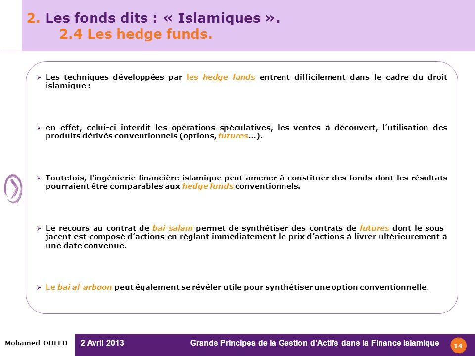2. Les fonds dits : « Islamiques ». 2.4 Les hedge funds.