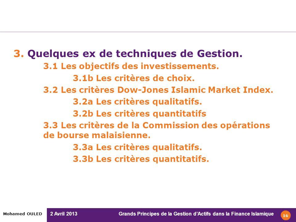 3. Quelques ex de techniques de Gestion.