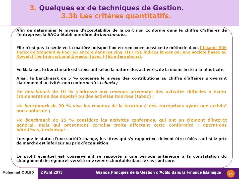 3. Quelques ex de techniques de Gestion. 3