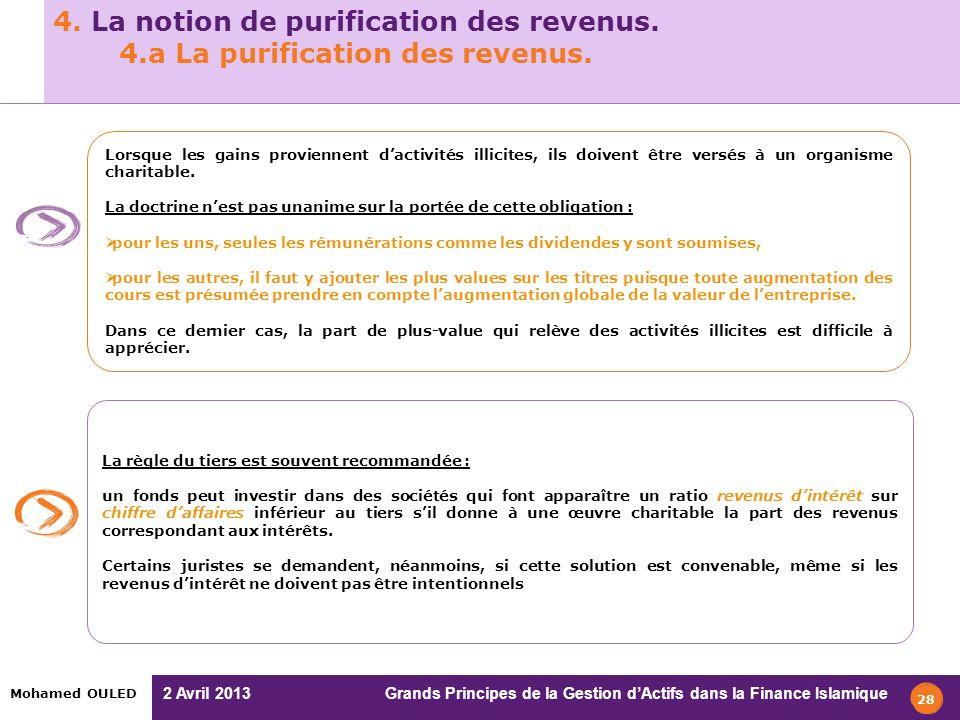 4. La notion de purification des revenus. 4