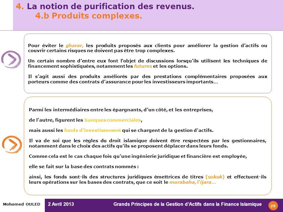 4. La notion de purification des revenus. 4.b Produits complexes.