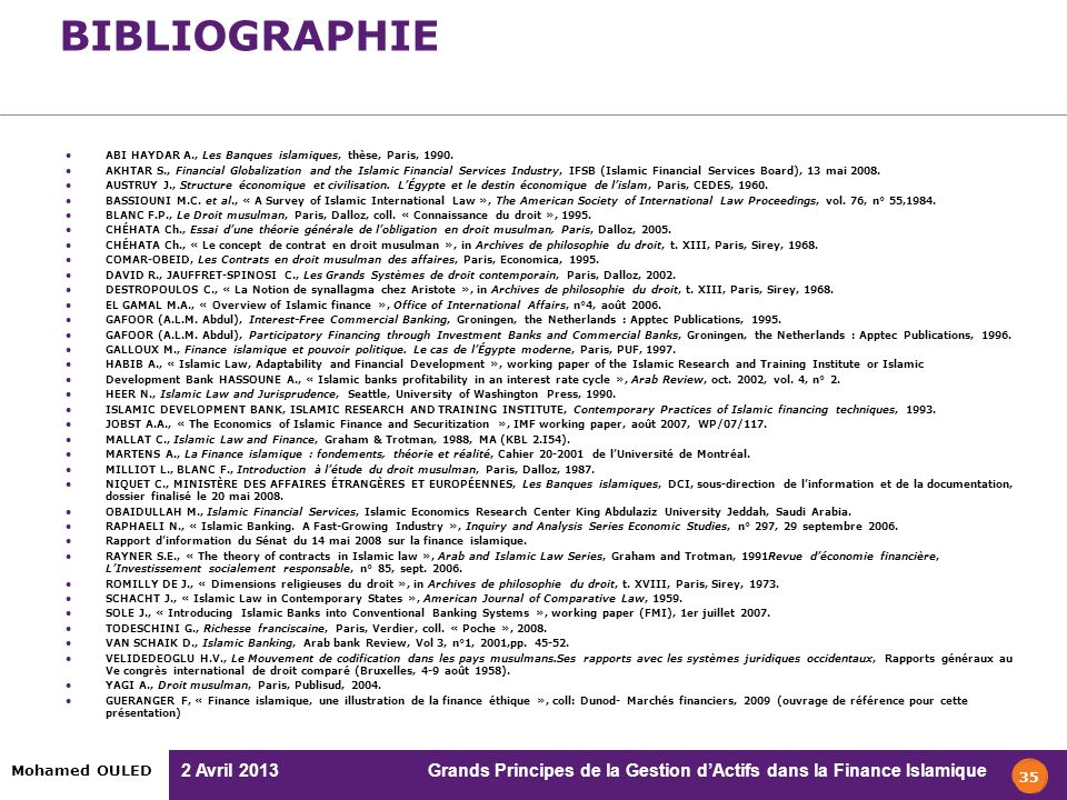 BIBLIOGRAPHIE ABI HAYDAR A., Les Banques islamiques, thèse, Paris, 1990.