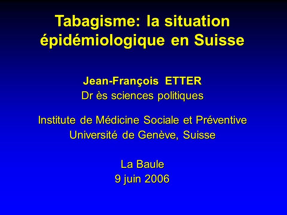 Tabagisme: la situation épidémiologique en Suisse