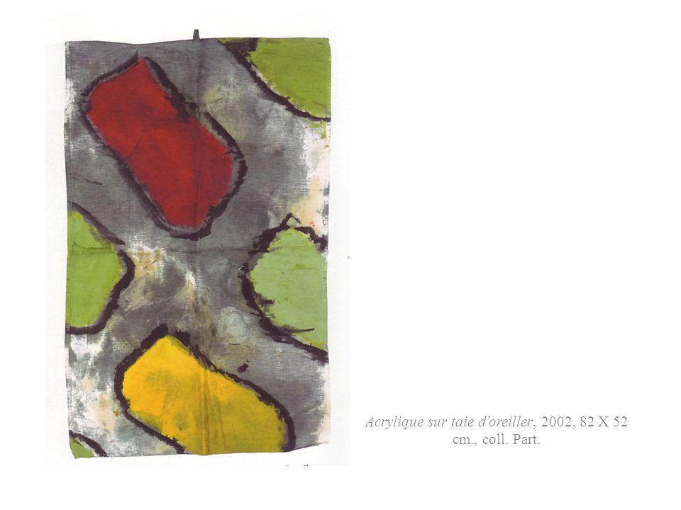 Acrylique sur taie d'oreiller, 2002, 82 X 52 cm., coll. Part.
