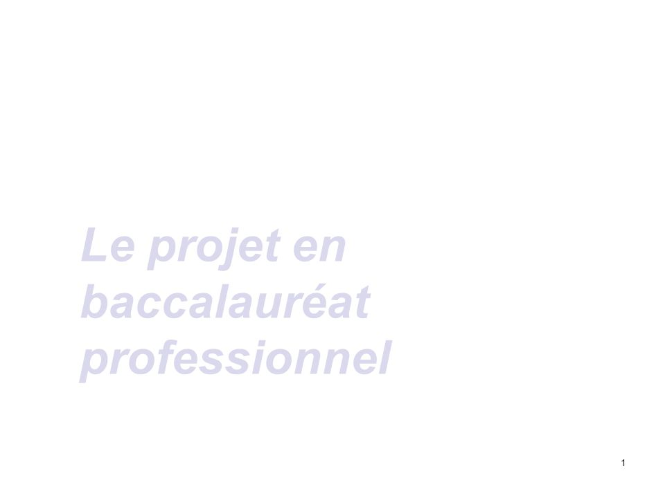 Le projet en baccalauréat professionnel