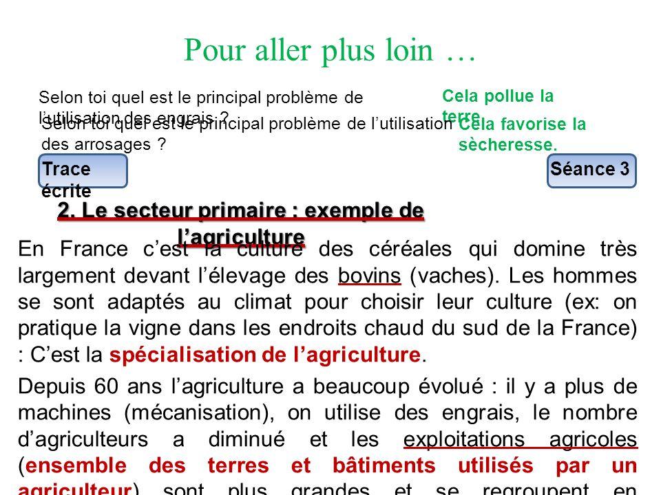 2. Le secteur primaire : exemple de l'agriculture