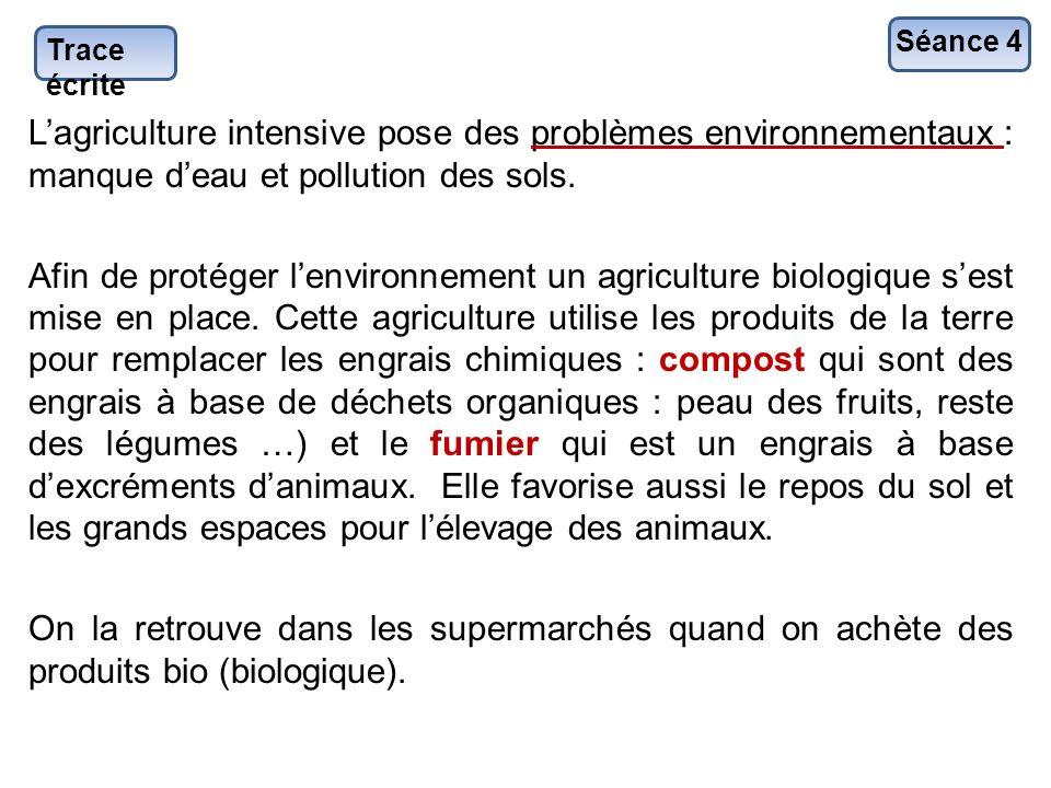 Séance 4 Trace écrite. L'agriculture intensive pose des problèmes environnementaux : manque d'eau et pollution des sols.