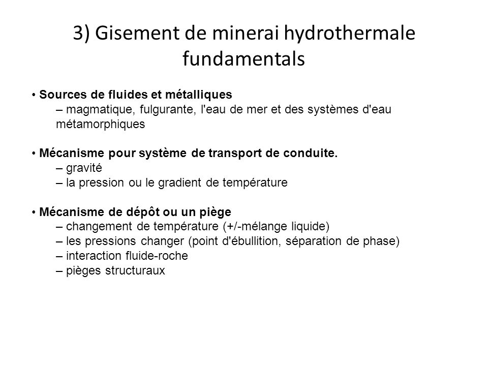 3) Gisement de minerai hydrothermale fundamentals