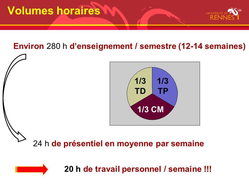 Volumes horaires Environ 280 h d'enseignement / semestre (12-14 semaines) 1/3.