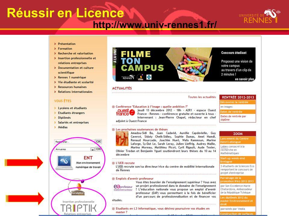 Réussir en Licence http://www.univ-rennes1.fr/