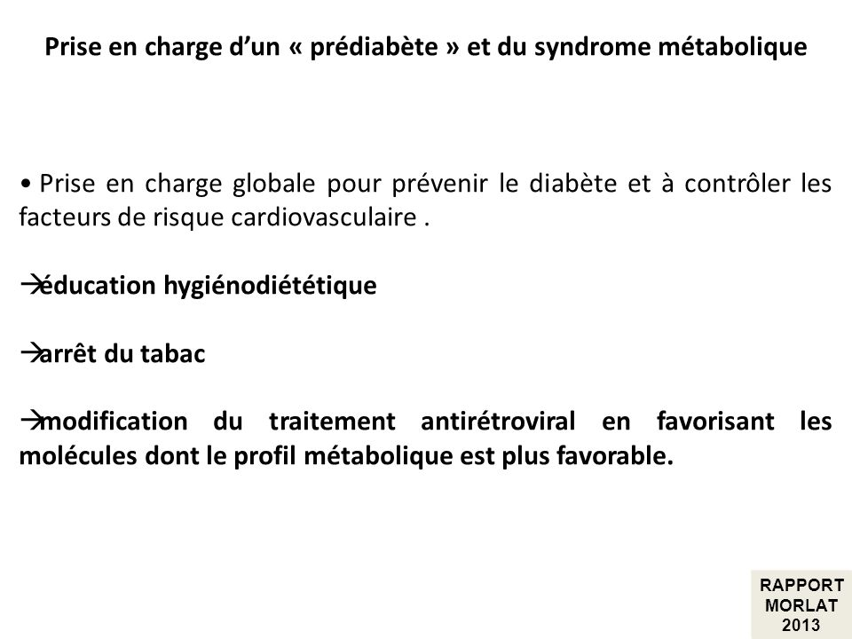 Prise en charge d'un « prédiabète » et du syndrome métabolique