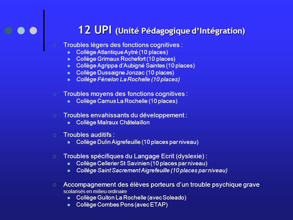 12 UPI (Unité Pédagogique d'Intégration)