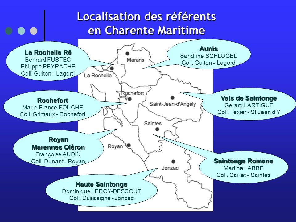 Localisation des référents en Charente Maritime