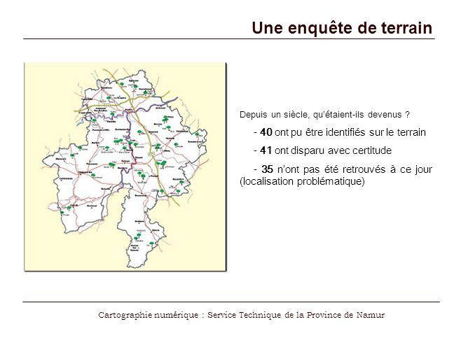 Cartographie numérique : Service Technique de la Province de Namur