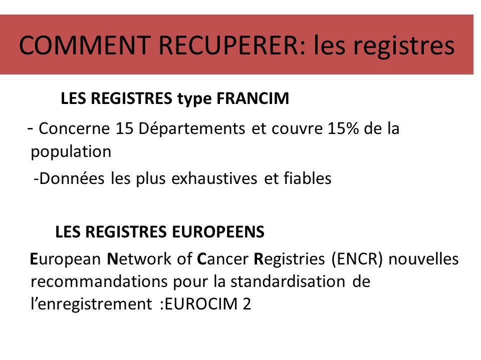 COMMENT RECUPERER: les registres