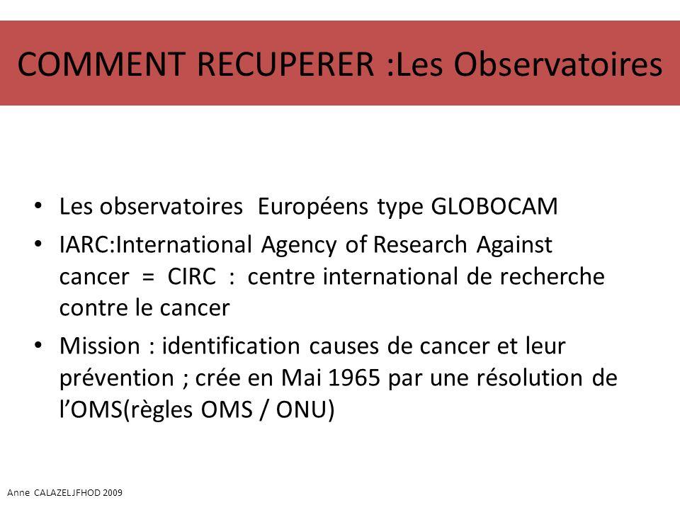 COMMENT RECUPERER :Les Observatoires