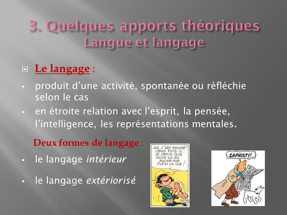 3. Quelques apports théoriques Langue et langage