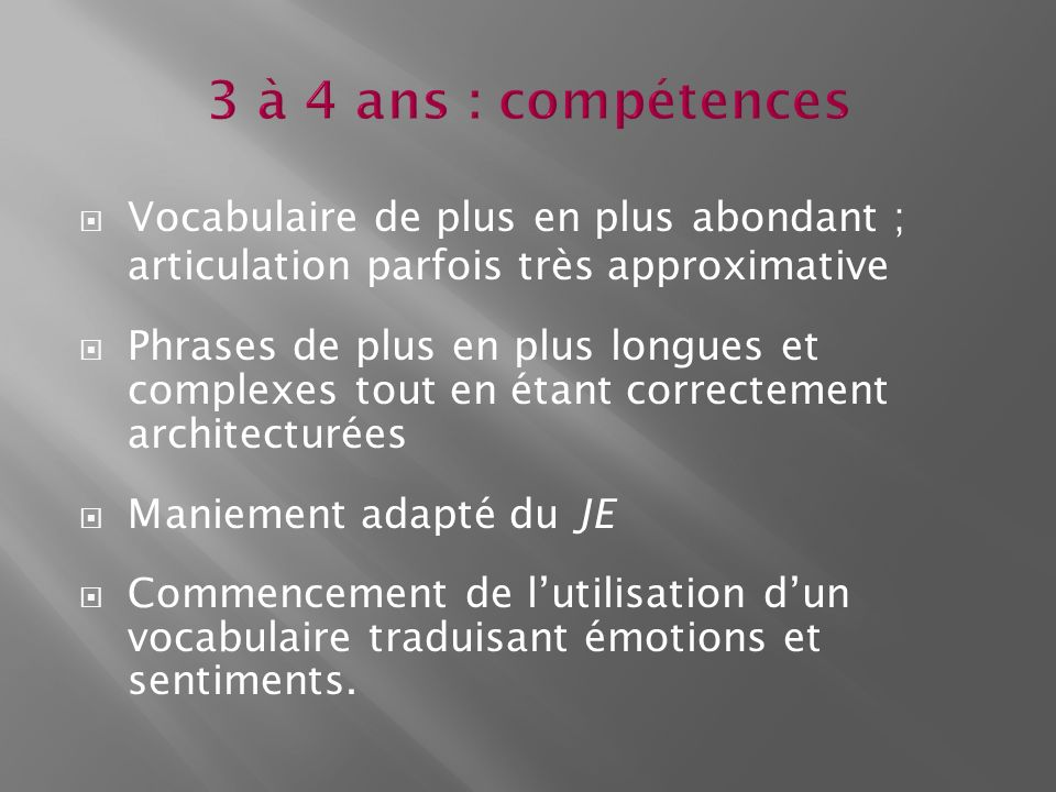 3 à 4 ans : compétences Vocabulaire de plus en plus abondant ; articulation parfois très approximative.