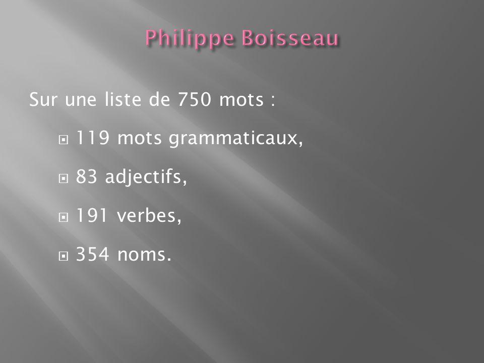 Philippe Boisseau Sur une liste de 750 mots : 119 mots grammaticaux,
