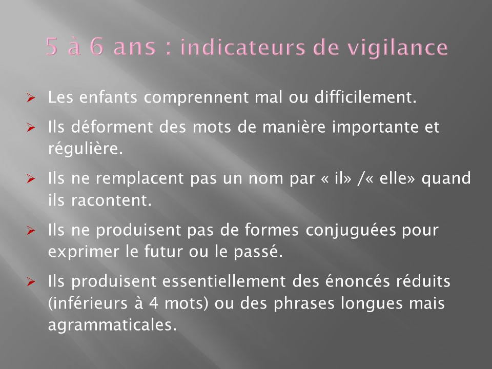 5 à 6 ans : indicateurs de vigilance