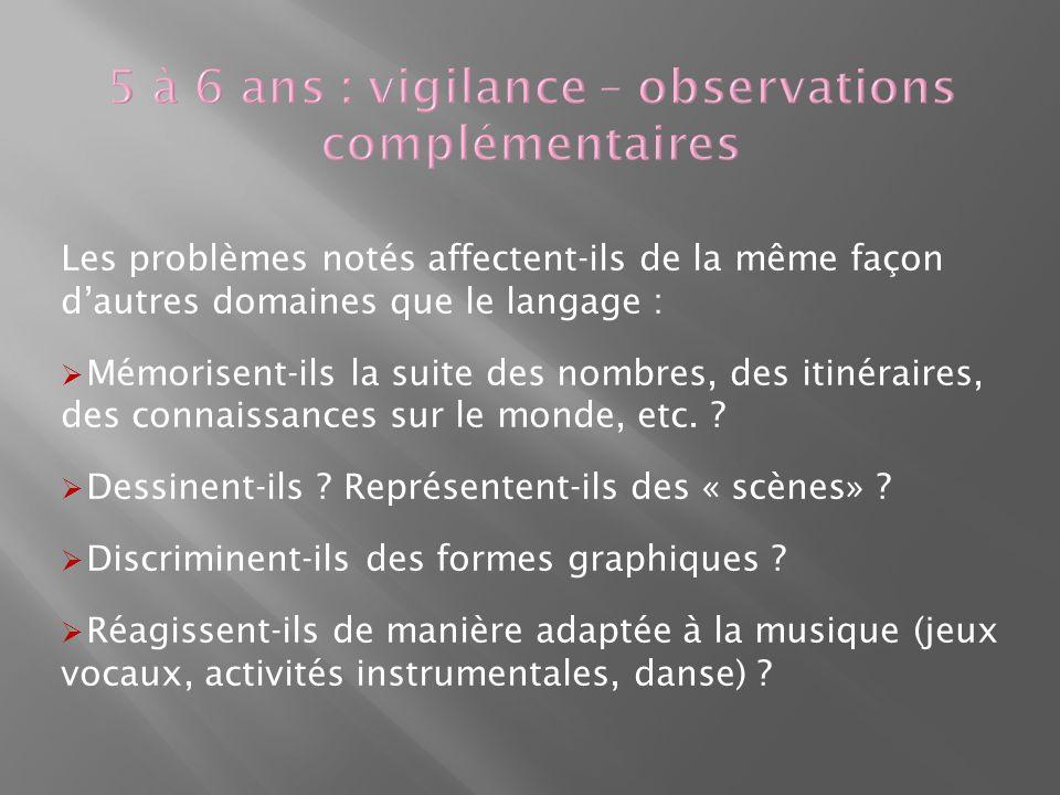 5 à 6 ans : vigilance – observations complémentaires