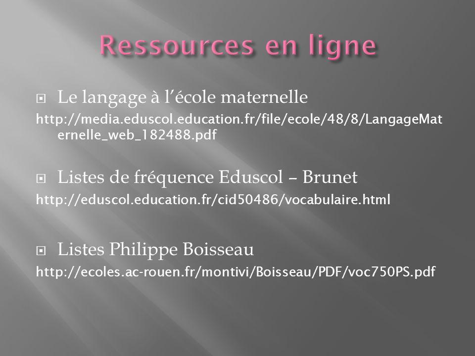 Ressources en ligne Le langage à l'école maternelle