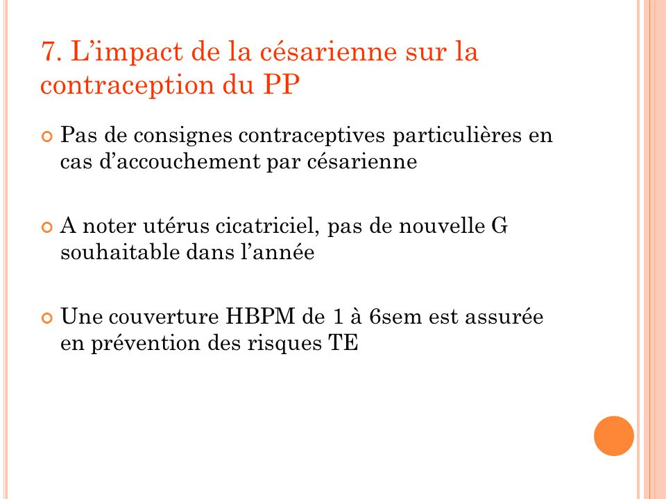 7. L'impact de la césarienne sur la contraception du PP