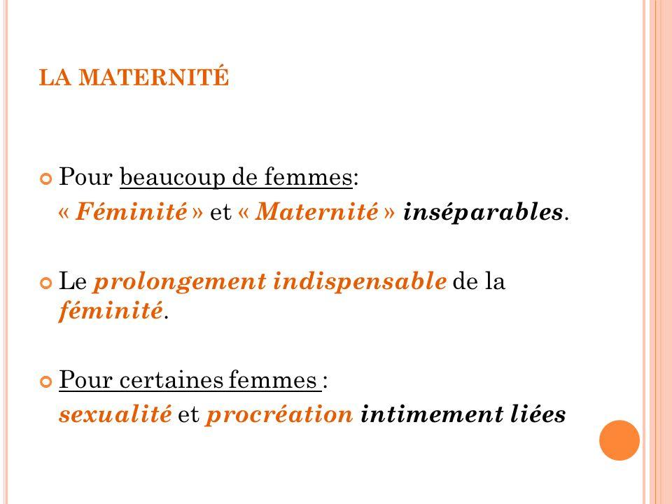Pour beaucoup de femmes: « Féminité » et « Maternité » inséparables.