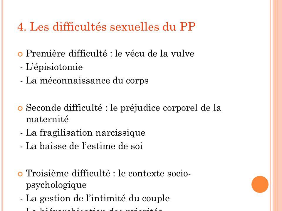4. Les difficultés sexuelles du PP