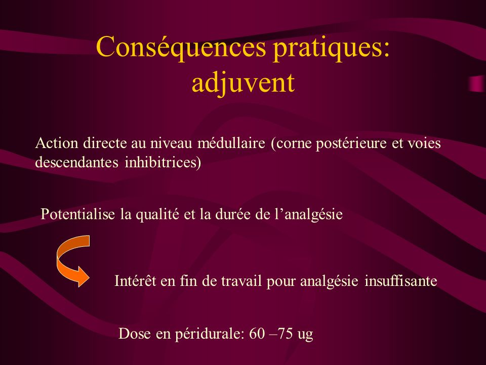Conséquences pratiques: adjuvent
