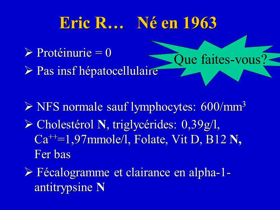 Eric R… Né en 1963 Que faites-vous  Protéinurie = 0