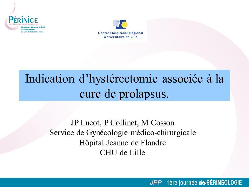 Indication d'hystérectomie associée à la cure de prolapsus.