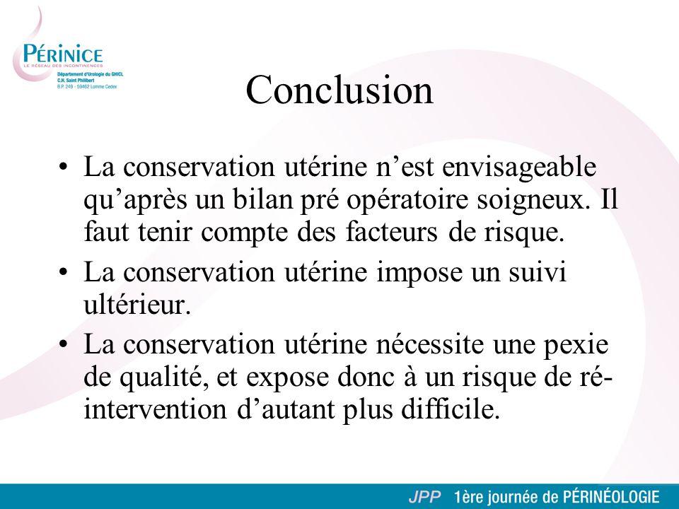 Conclusion La conservation utérine n'est envisageable qu'après un bilan pré opératoire soigneux. Il faut tenir compte des facteurs de risque.