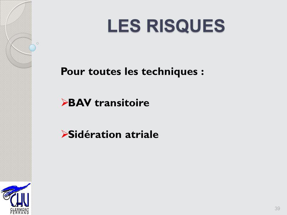 LES RISQUES Pour toutes les techniques : BAV transitoire