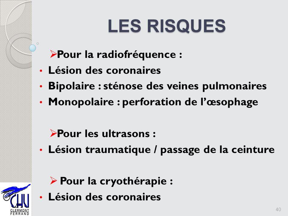 LES RISQUES Pour la radiofréquence : Lésion des coronaires