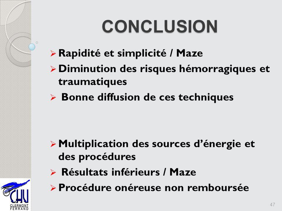 CONCLUSION Rapidité et simplicité / Maze