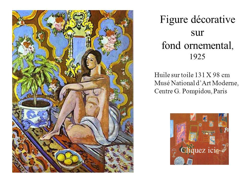 Figure décorative sur fond ornemental, 1925 Cliquez ici