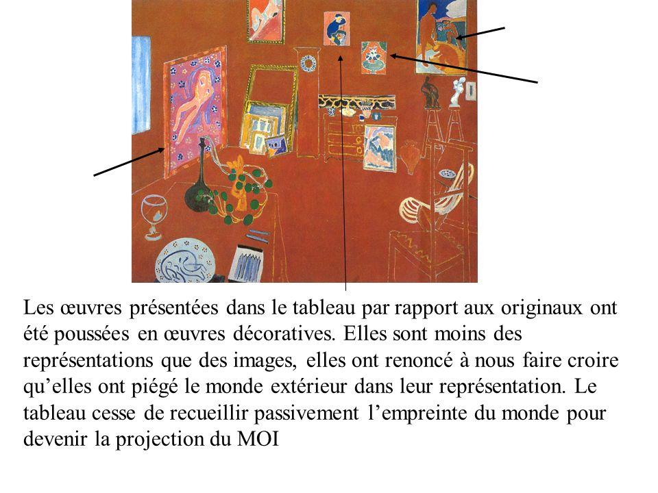 Les œuvres présentées dans le tableau par rapport aux originaux ont été poussées en œuvres décoratives.