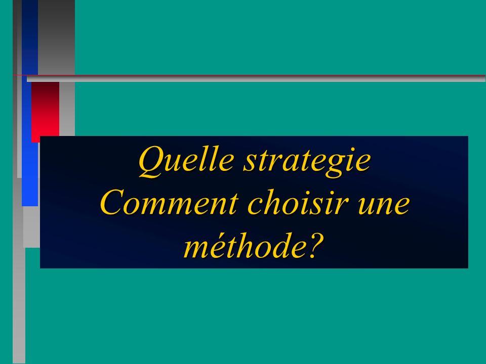 Quelle strategie Comment choisir une méthode