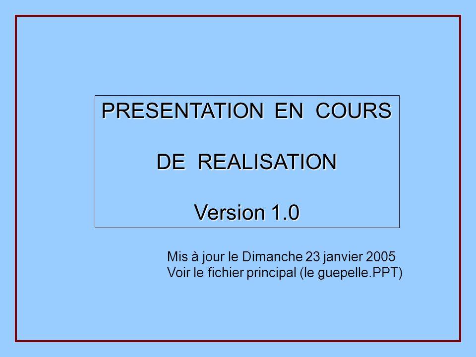 PRESENTATION EN COURS DE REALISATION Version 1.0